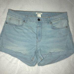 H&M High Waisted Light Wash Shorts